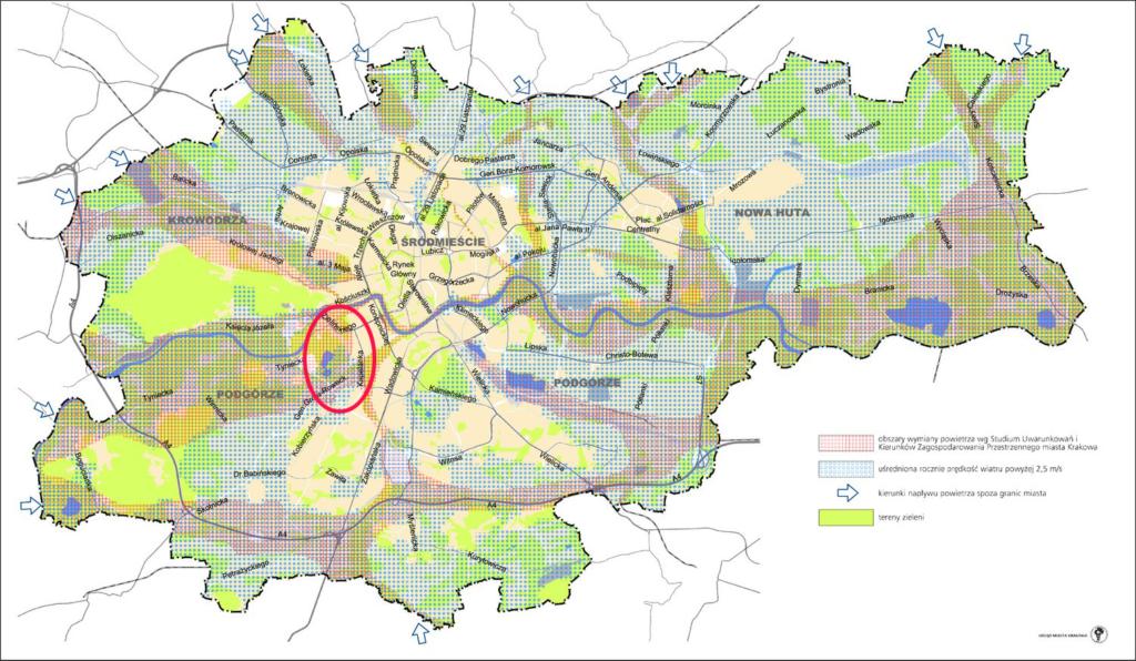 Mapa Krakowa z obszarami przewietrzania miasta