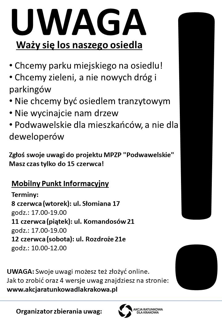 Ulotka _mobilny punkt składania uwag MPZP Osiedle Podwawelskie